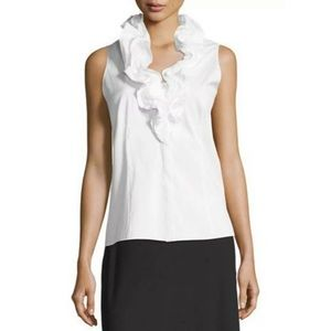 Lafayette 148 | Tessa Sleeveless Ruffle Neck Top